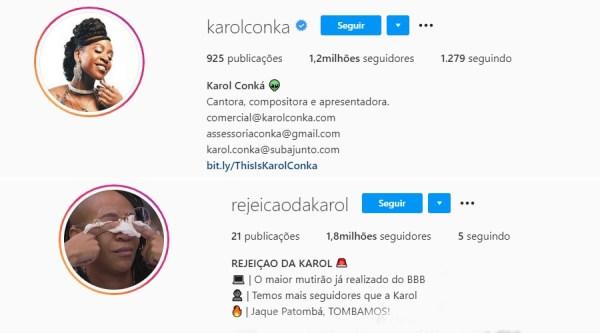Karol Conká é a participante mais odiada do BBB21 e perfil de rejeição supera o perfil oficial da cantora