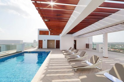 swimming pool at the Gallery luxury apartments developed by Clifton homes