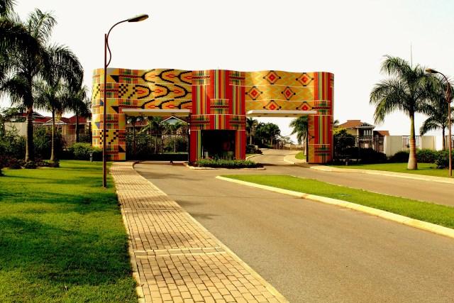 Kente entrance to Prabon Greenfields estate houses in Kumasi