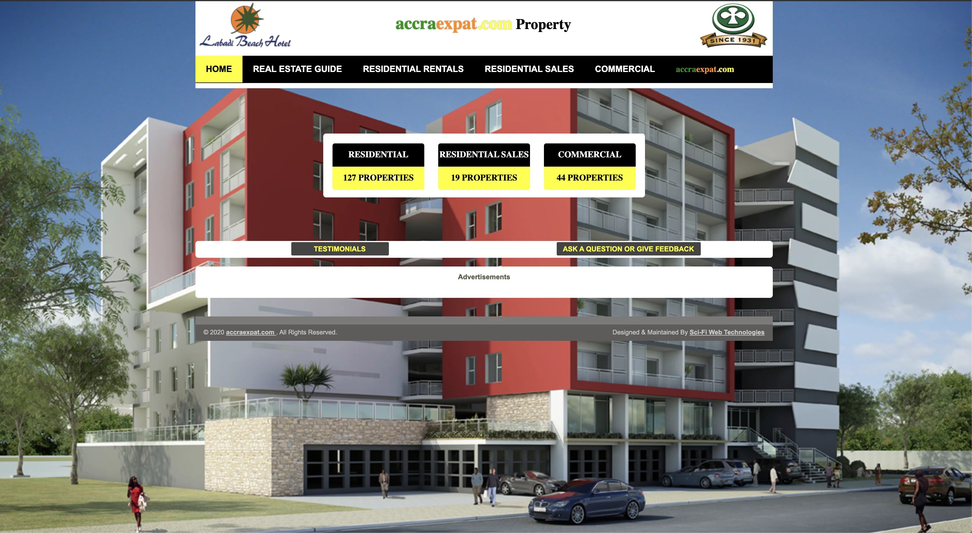 homepage of Accra Expat which also runs an online real estate platform