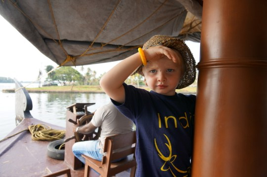 Cruising the backwaters of Kerala with kids
