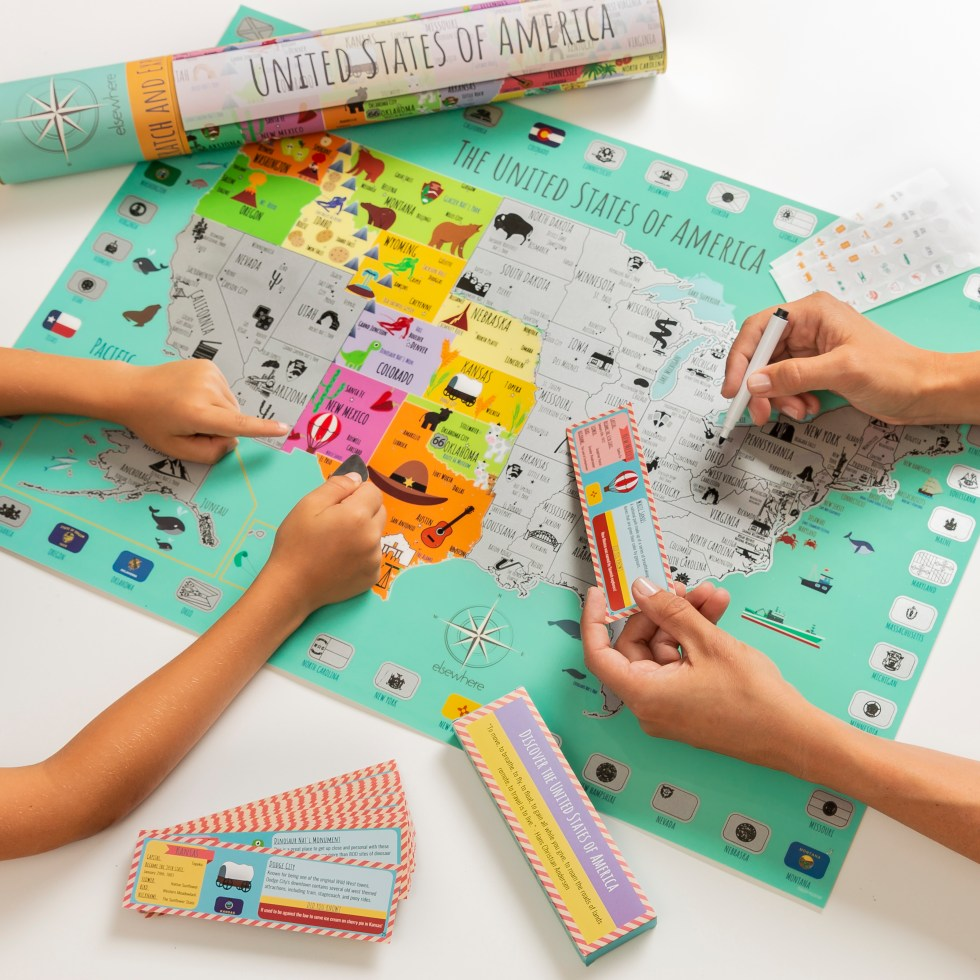 US Scratch off map is perfect for family travelers!