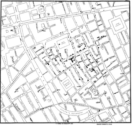 John Snow adopted the same principle to depict cholera deaths in London in 1854