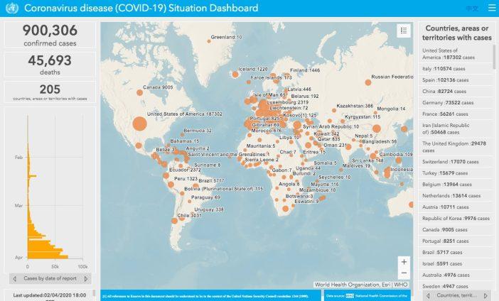 WHO GIS COVID map