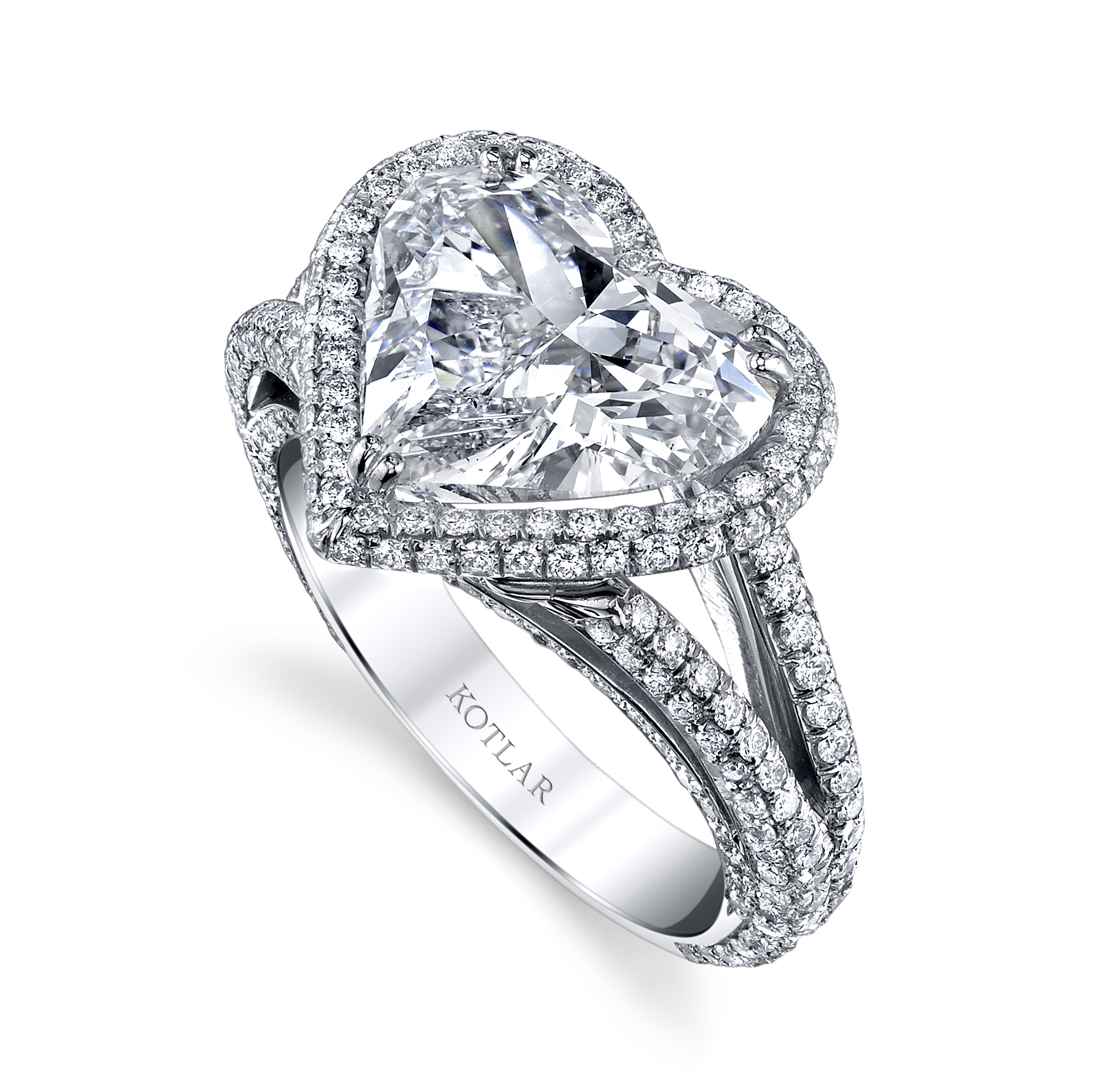 The shape of love. Shreve's Harry Kotlar sparkler boasts a 4.01 carat heart-shaped diamond. Why haven't you proposed to her yet?; $172,355, shreve.com.