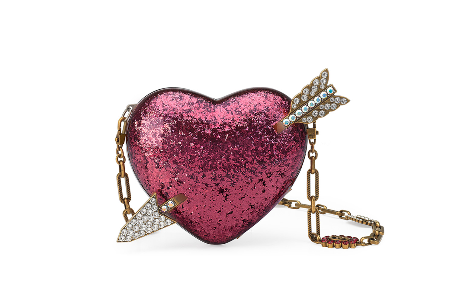 Cupid's arrow. We're crushing on Gucci's minaudière clutch so hard. Tragically, it doesn't return our feelings. Oh, the exquisite torture!; $3,700, neimanmarcus.com.