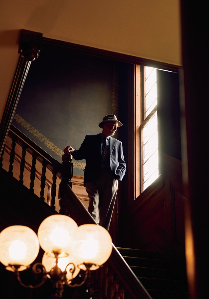 Woody LaBounty, Interim President of SF Heritage, inside the organization's headquarters in the historic Haas-Lilienthal House.