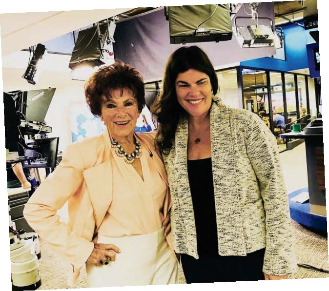 Marion Ross and Tiffany Woolf on set at the KTVU studio in 2018