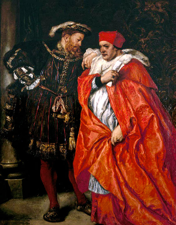 Cardinal Wolsey and Henry VIII plotting a way to procuring Henry's divorce from Catherine of Aragon. Painting by Sir John Gilbert.