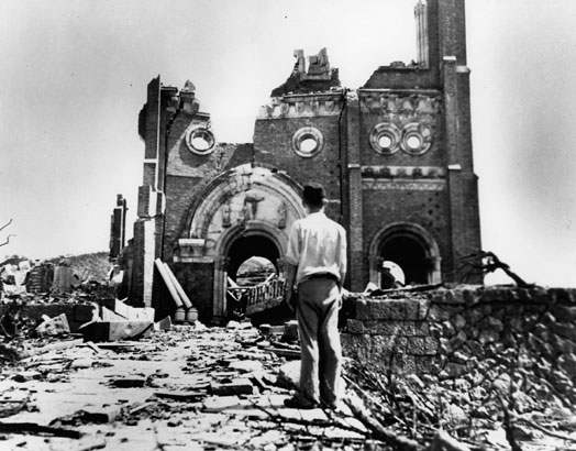 Urakami Cathedral after the bomb. Only 500 feet from the hypocenter of the blast stood the original Urakami Cathedral, a center for Nagasaki's Catholic community. Catholic missionaries first came to Nagasaki in the 16th century, and within several decades hundreds of thousands of people in Southwestern Japan were practicing Catholics.