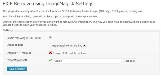 EXIF Remove using ImageMagick Settings