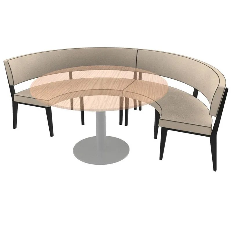 simplicity elegant 4 seater curved free standing booth large half circle
