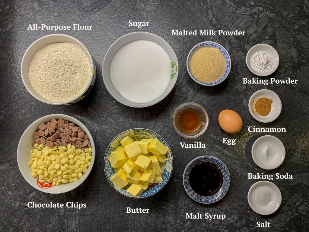 Ingredients for Malted Chocolate Chip Cookies