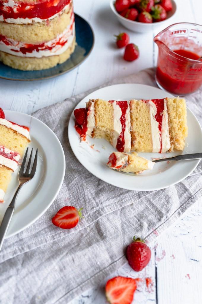 Strawberry Vanilla Layer Cake