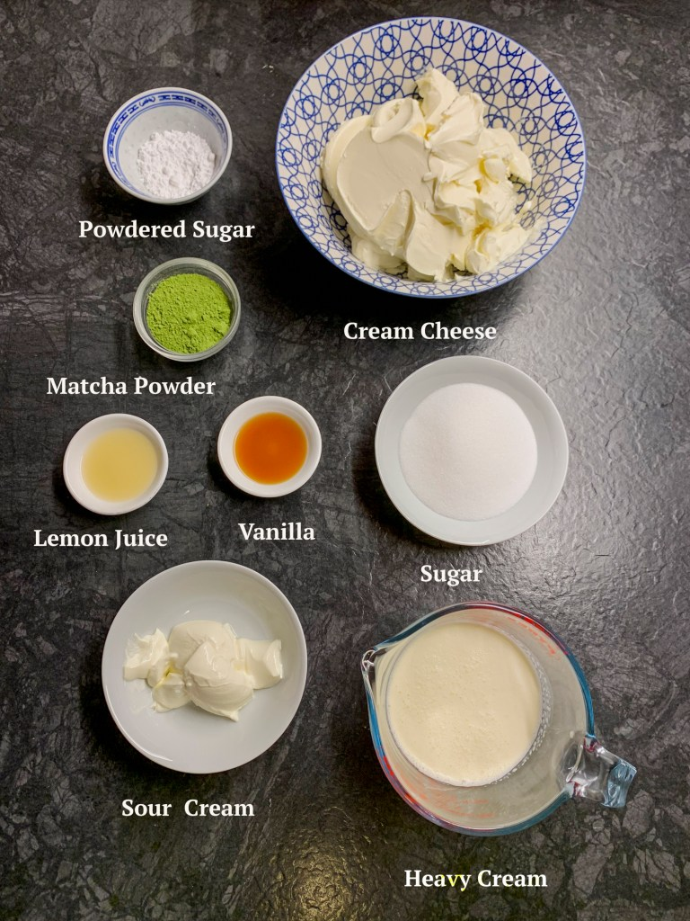 Ingredients for Matcha Cheesecake