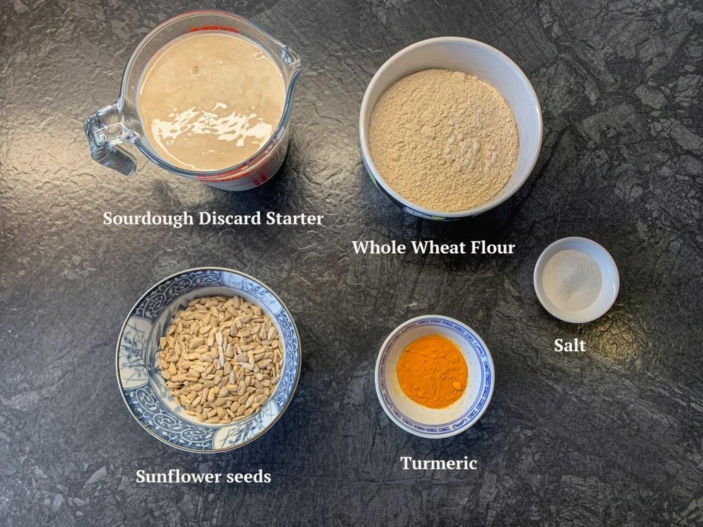 Ingredients for Sourdough Discard Turmeric Bread