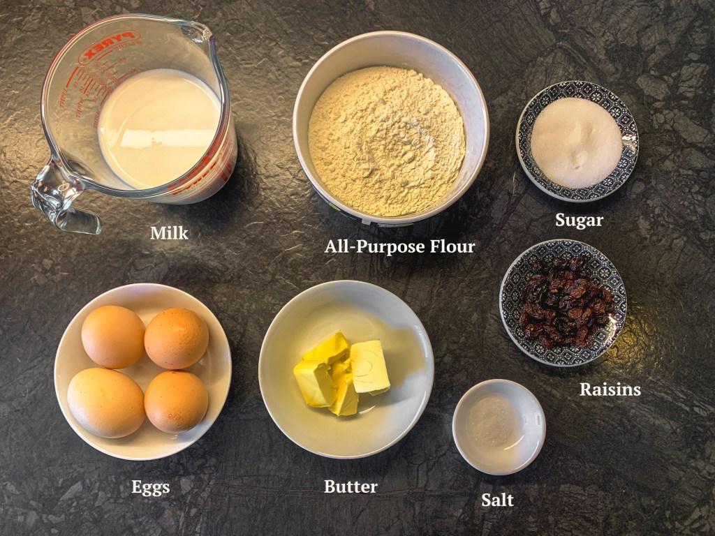 Ingredients for Wiener Kaiserschmarrn