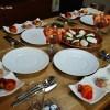 夏のイタリアン(その1) エビの冷製ポタージュ、カルパッチョ、エビのカクテル、カポナータ