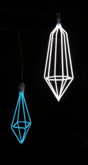 Diamond Pendant in Ice Blue + Hexagon Pendant in Designer White