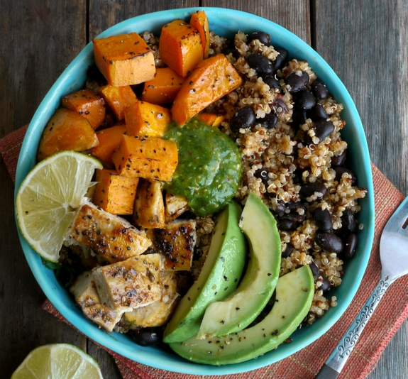 Chicken Sweet Potato And Quinoa Bowls With Tomatillo
