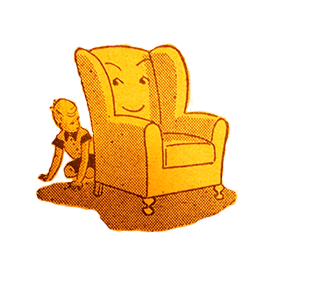 Old illustration of boy hiding behind chair