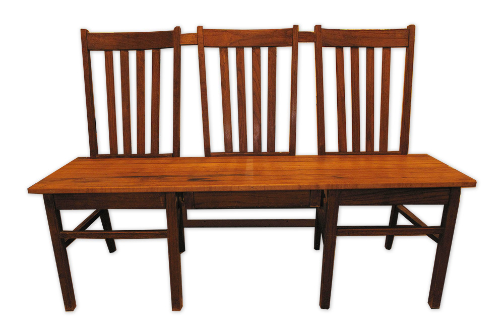 handcrafted 3-seater bench