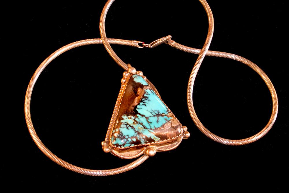 Native American turquoise necklace - triangular pendant