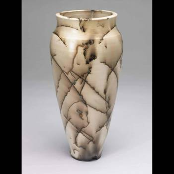 Resized tall white horsehair vase