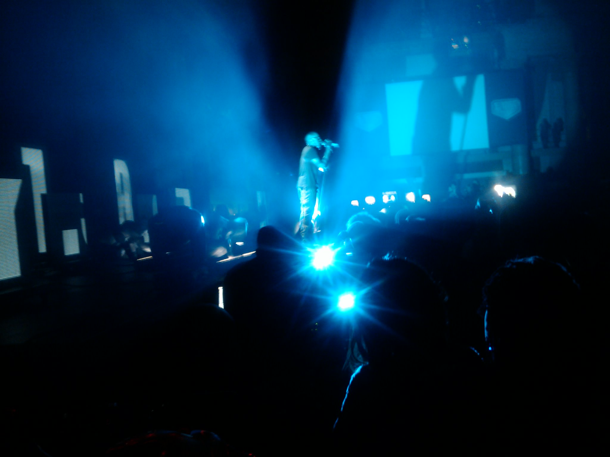 Kanye performing at G-Shock event