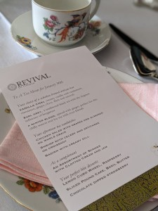 Tea menu at Revival