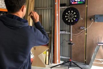 Dart board stand set-up