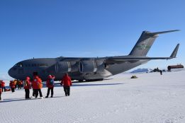 Our Antarctic chariot, the C-17, on the ice shelf runway upon arrival