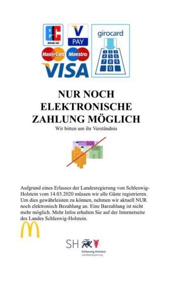 McDonalds Itzehoe will kein Bargeld