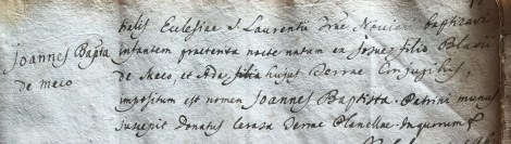 Baptism record for Giovanni Battista di Meco (1754), son of Giosuè di Meco