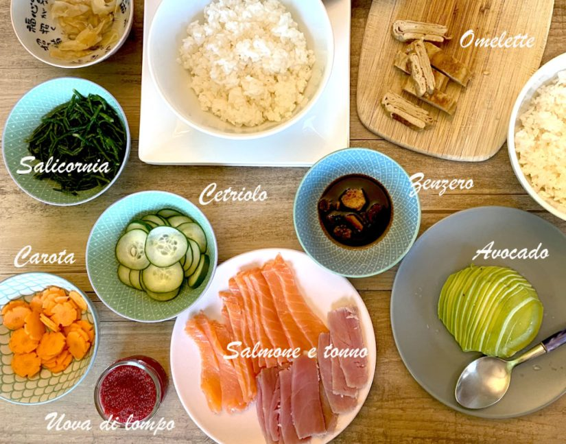 Chirashi sushi ingredienti