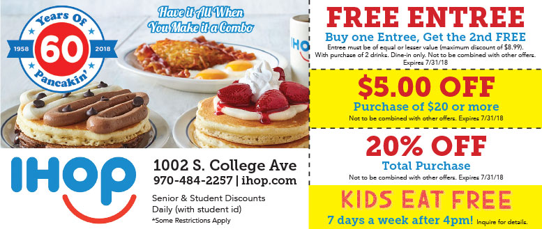 BOGO Entree or $5 OFF $20 | Ihop Restaurant Coupons at ...