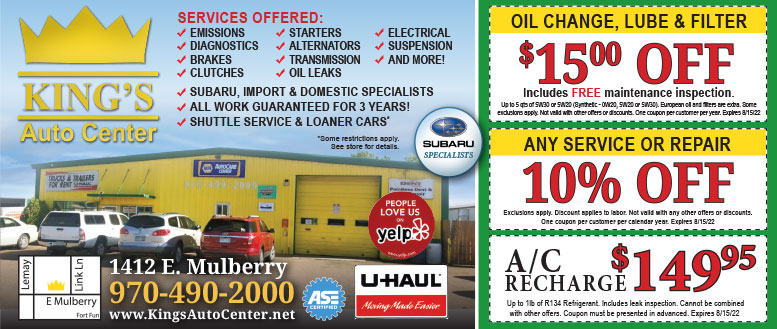 Kings Auto Center Oil Change Coupons or 15% Repair or Service