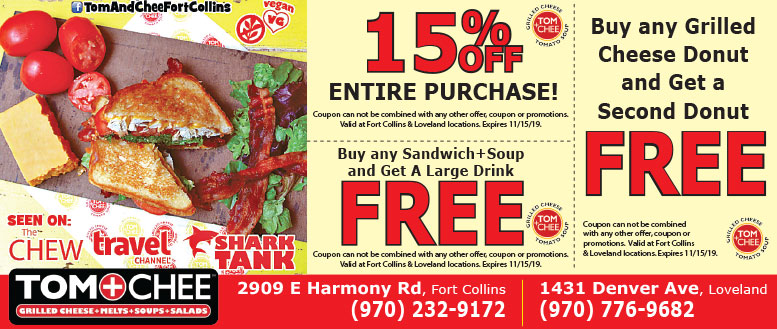 TOM+CHEE Restaurant Fort Collins Coupons