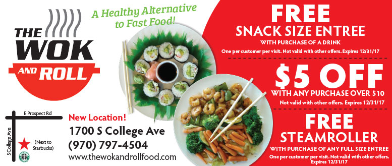The Wok and Roll Fort Collins Coupons - $5 Off, Free Snack Size Entree