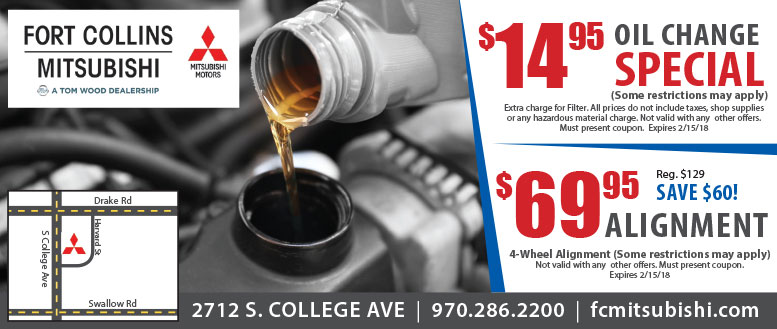Fort Collins Mitsubishi Oil Change & Alignment Service Coupons