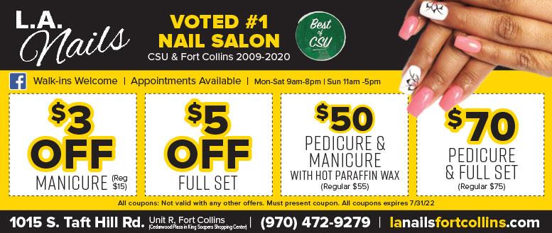 LA Nails Salon - Manicure, Pedicure and Waxing Coupon Deals