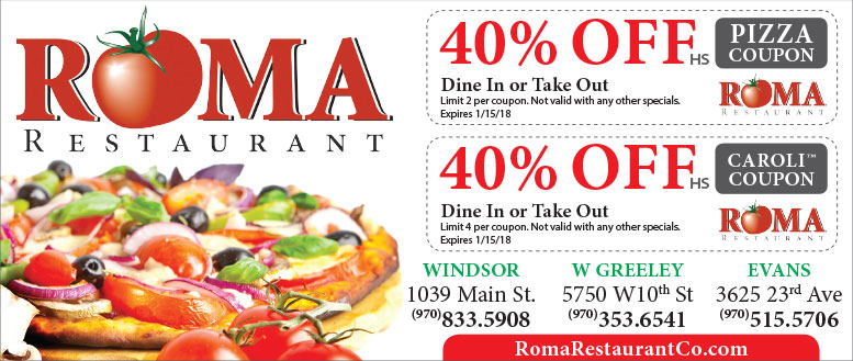Roma Restaurant Pizza Coupon Deals for Windsor, Greeley & Evans, CO