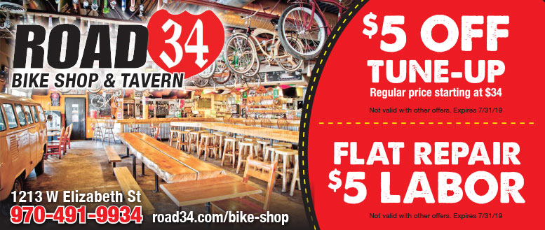Road 34 Bike Shop & Tavern Coupons in Fort Collins - $5 Off Tune-up