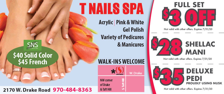 T Nails Spa - Manicure & Pedicure Coupon Deals in Fort Collins