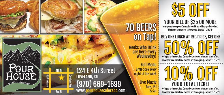 Pour House Coupons in Loveland, CO - $5 Off or Free Beer