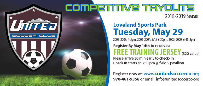 United Soccer Club - Free Training Jersey for Competitive Tryouts