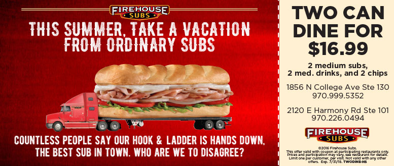 Firehouse Subs Fort Collins Coupon Deal - Two Dine for $16.99