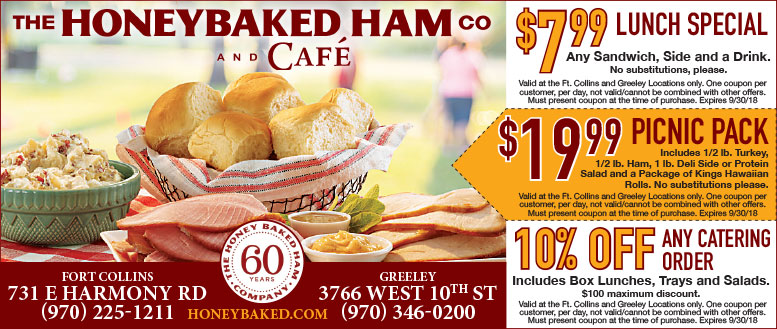 Honeybaked Ham CO Coupon Deals - $19.99 Picnic Pack or $7.99 Lunch Specials