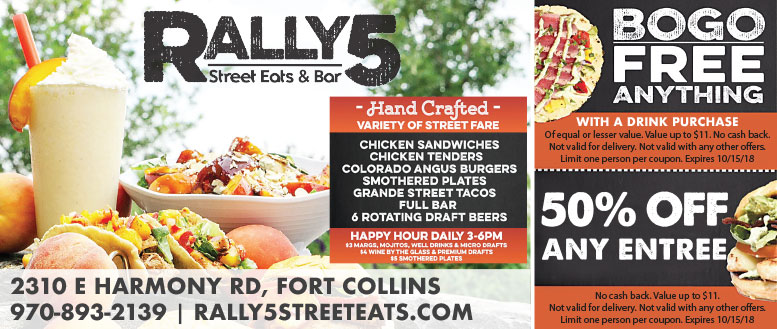 Rally5 Street Eats & Bar Coupon Deals - BOGO Anything or 50% Off Entree