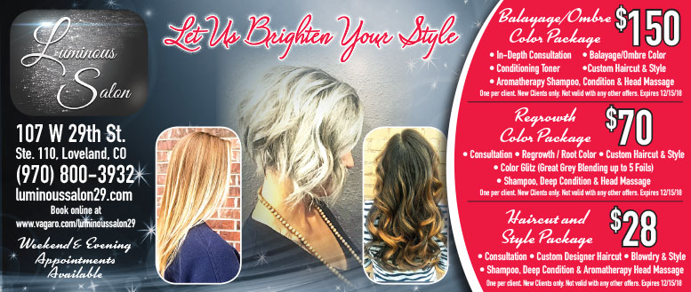 Luminous Salon, Loveland, CO - Balayage, Ombre, Haircut, Color & Style Coupons